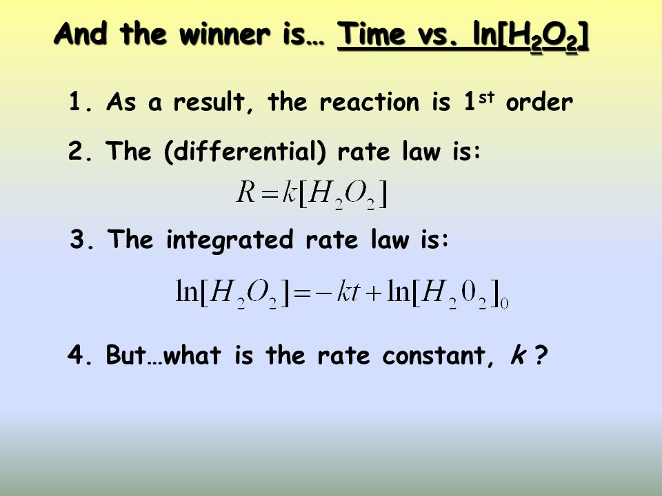 And the winner is… Time vs. ln[H2O2]